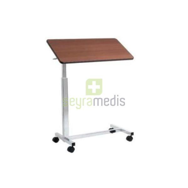 Mesa de comer no leito cromada com rodas regul vel em for Mesa comer