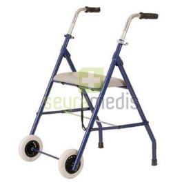Auxiliar de marcha com assento e 2 rodas em aço pintado azul